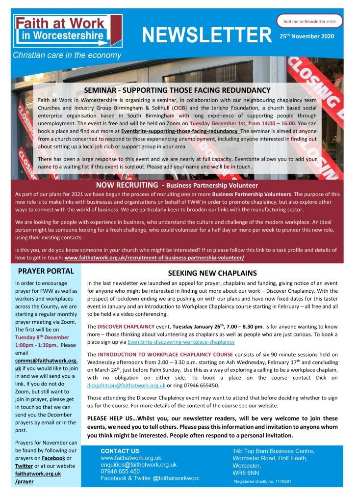 FWW Newsletter 25-11-2020