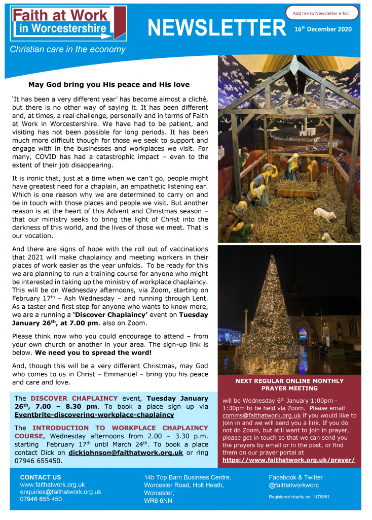 FWW Newsletter 16-12-2020