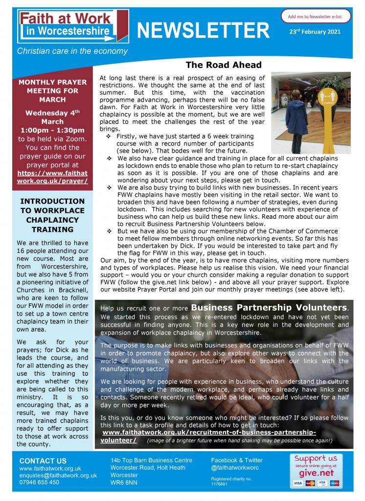 FWW Newsletter 23-02-21