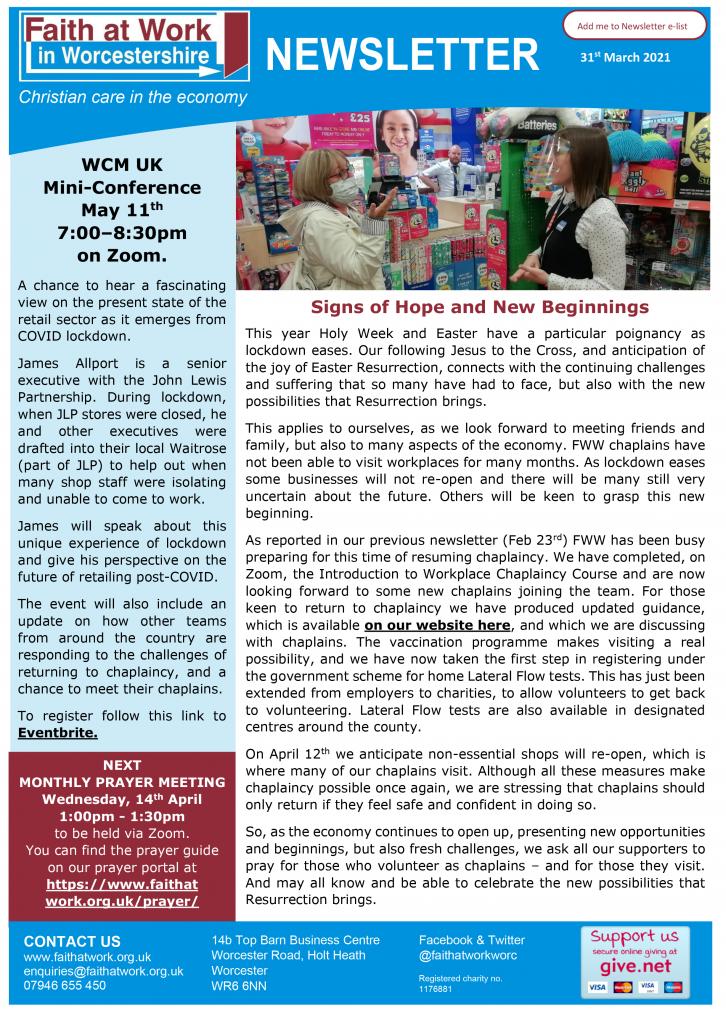 FWW Newsletter 31-03-21