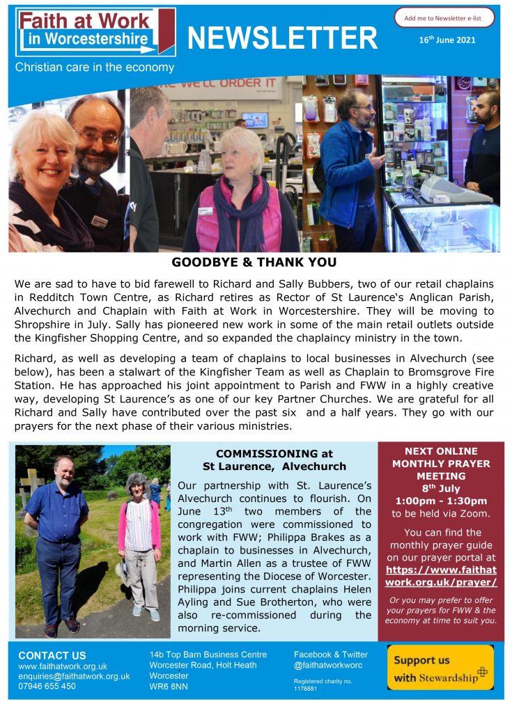 FWW Newsletter 16th June 21