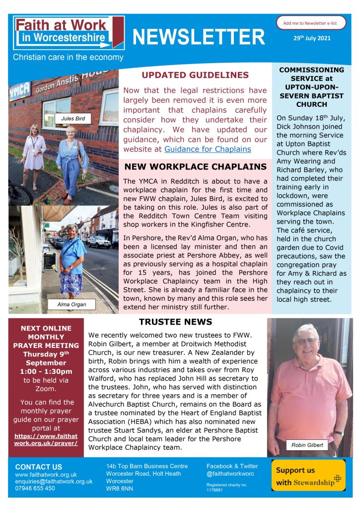 FWW Newsletter 29th July 2021